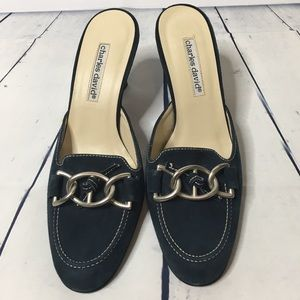 Charles David Blue Suede Mules Size 7.5